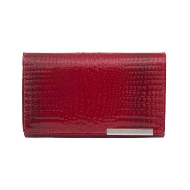 Gregorio - Skórzany damski portfel lakierowany czerwony (CROCO-GF101)