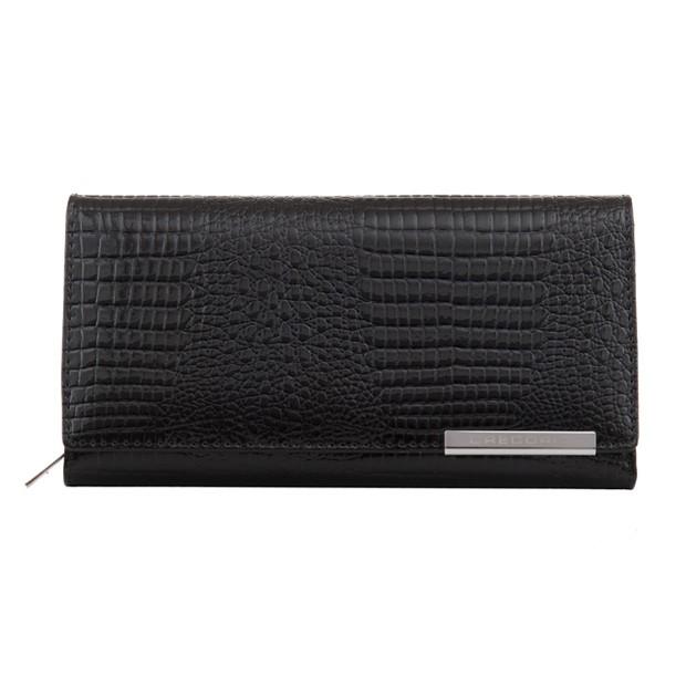 Gregorio - Skórzany duży damski portfel lakierowany czarny (CROCO-GF106)