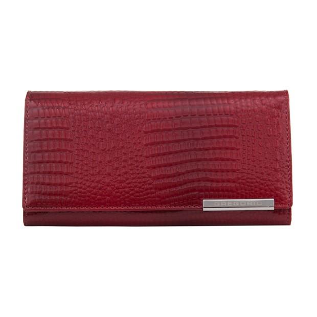 Gregorio - Skórzany duży damski portfel lakierowany czerwony (CROCO-GF106)