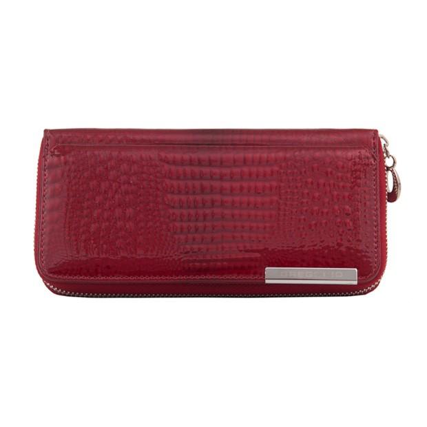 Gregorio - Skórzany duży damski portfel lakierowany czerwony (CROCO-GF111)