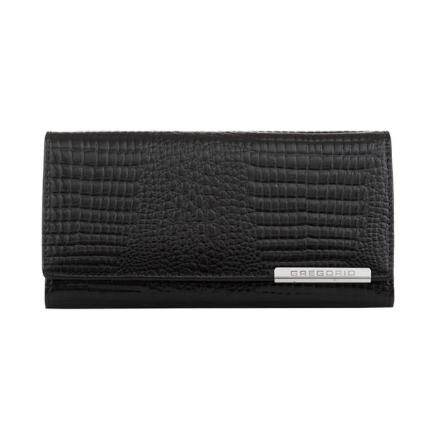 Gregorio - Skórzany duży damski portfel lakierowany czarny (CROCO-GF100)
