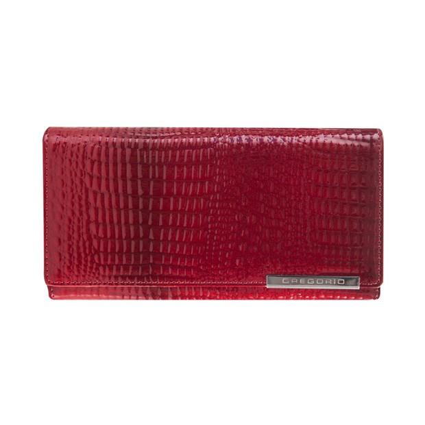 Gregorio - Skórzany duży damski portfel lakierowany czerwony (CROCO-GF100)