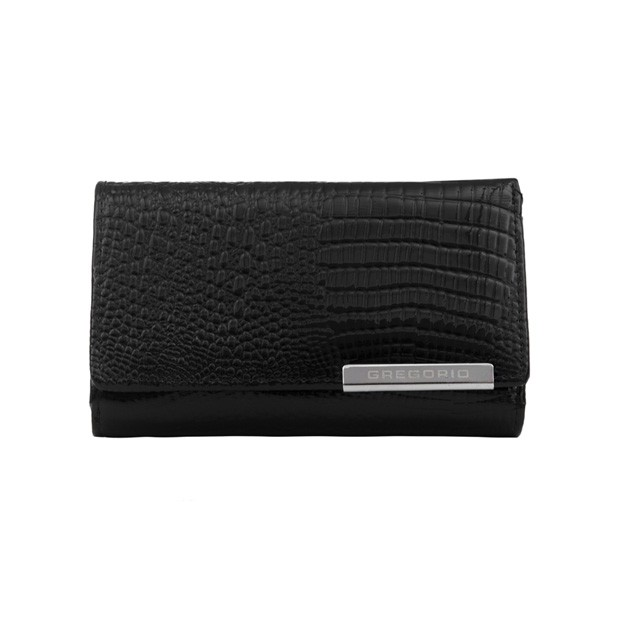 Gregorio - Skórzany damski portfel lakierowany czarny (CROCO-GF108)
