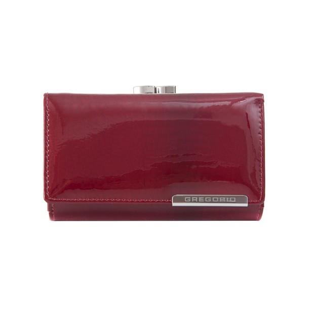 Gregorio - Skórzany damski portfel lakierowany czerwony (CROCO-GF108)