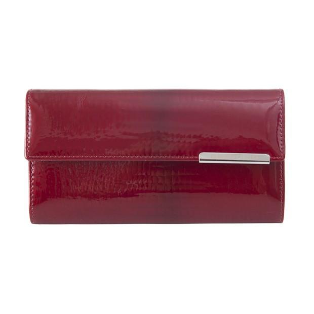 Gregorio - Skórzany duży damski portfel lakierowany czerwony (CROCO-GF109)