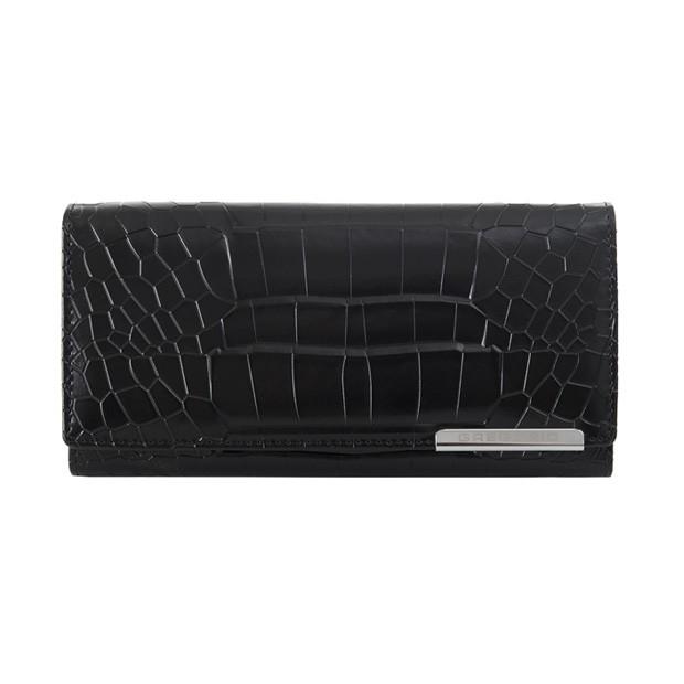 Gregorio - Skórzany duży damski portfel lakierowany krokodyl czarny (CROCO-GF103)