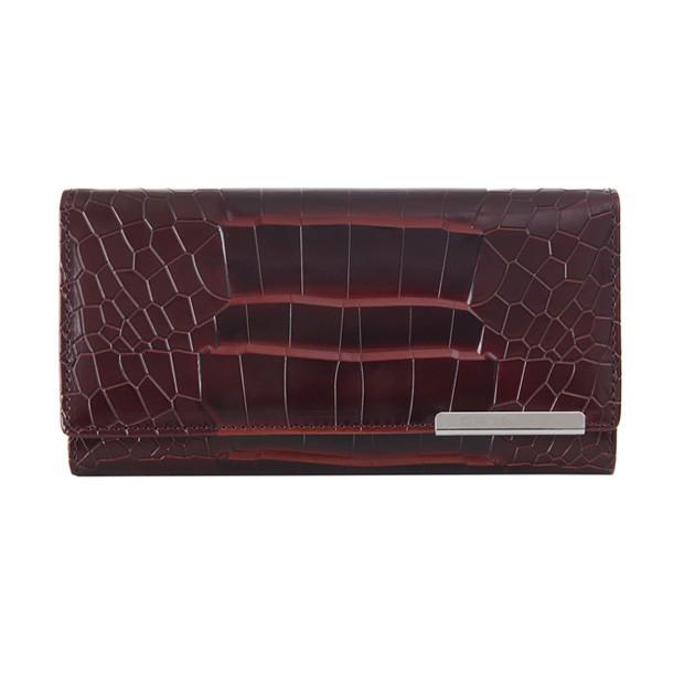 Gregorio - Skórzany duży damski portfel lakierowany krokodyl bordowy (CROCO-GF103)