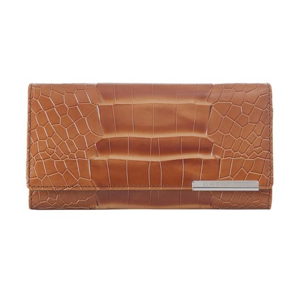 Gregorio - Skórzany duży damski portfel lakierowany krokodyl brązowy (CROCO-GF103)