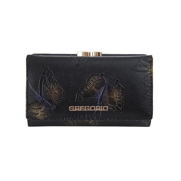 Gregorio - Skórzany damski portfel lakierowany motyle czarny (MOT108)