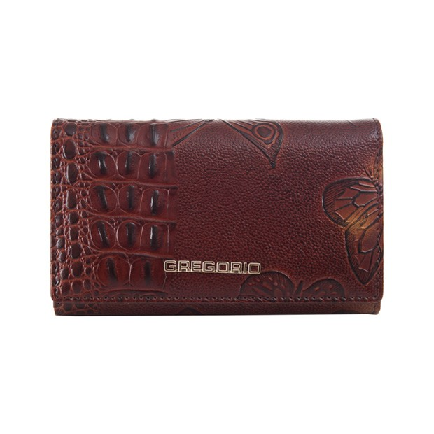 Gregorio - Skórzany damski portfel lakierowany motyle brązowy (MOT101)