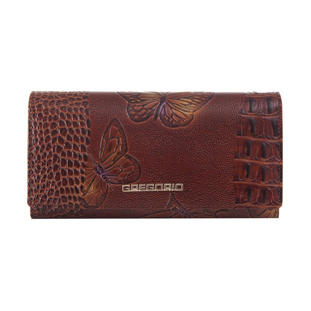 Gregorio - Skórzany duży damski portfel lakierowany motyle brązowy (MOT100)