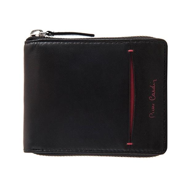 Pierre Cardin - Skórzany męski portfel na zamek czarny+czerowny (8818-TILAK07)