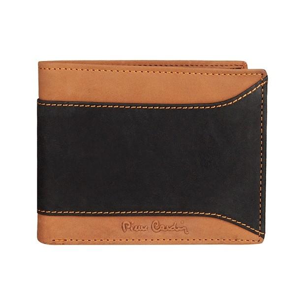 Pierre Cardin - Skórzany męski portfel czarny + brąz (8806-TILAK13)