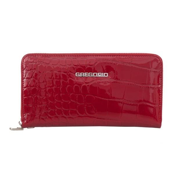 Gregorio - duży damski skórzany portfel lakierowany krokodyl czerwony (BC119-RED)