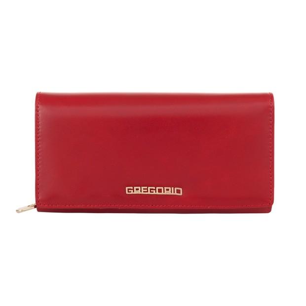 Gregorio - Skórzany duży damski portfel czerwony (N106-RED)