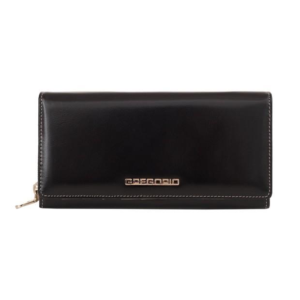 Gregorio - Skórzany duży damski portfel czarny (N106-BLACK)