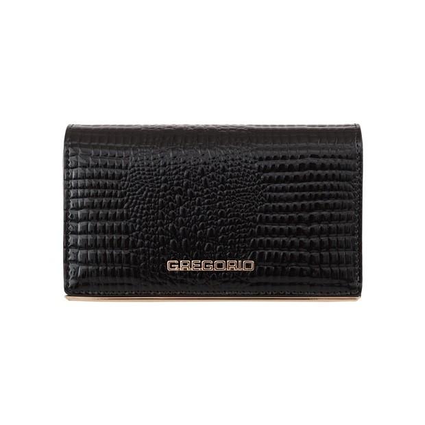 Gregorio - damski skórzany portfel lakierowany krokodyl czarny (SSL101-BLACK)