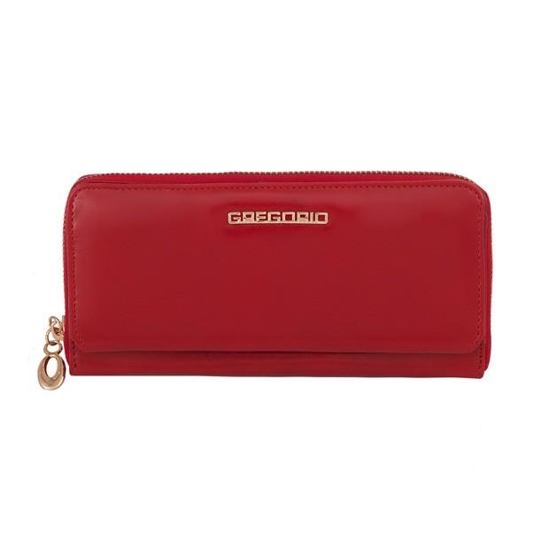 Gregorio - Skórzany duży damski portfel czerwony (N111-RED)