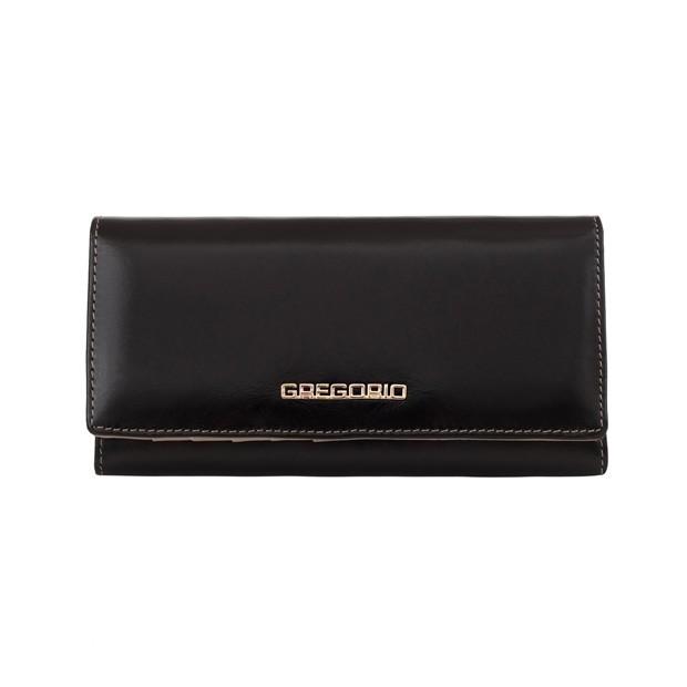 Gregorio - Skórzany duży damski portfel czarny (N100-BLACK)