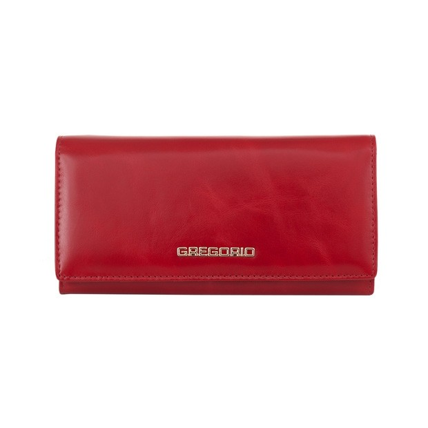 Gregorio - Skórzany duży damski portfel czerwony (N100-RED)