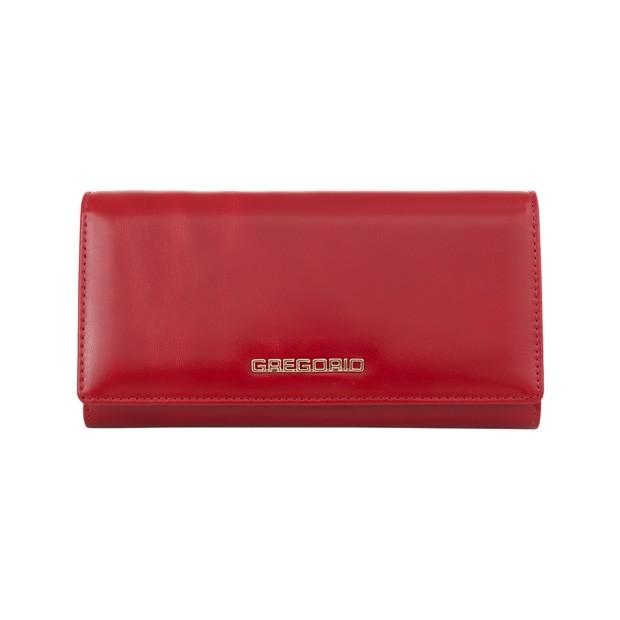Gregorio - Skórzany duży damski portfel czerwony (N102-RED)