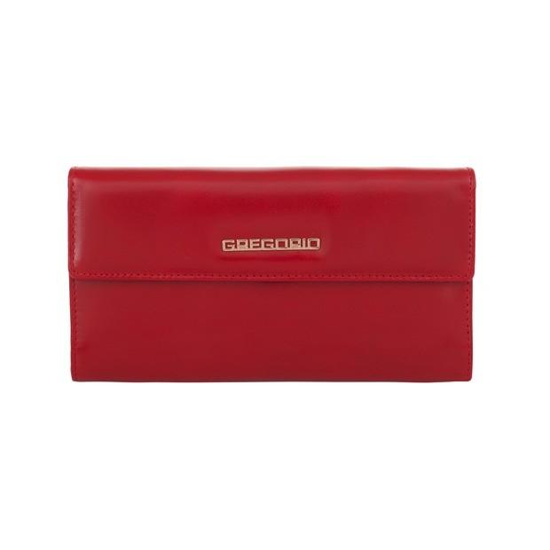 Gregorio - Skórzany duży damski portfel czerwony (N109-RED)