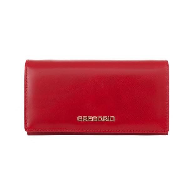 Gregorio - Skórzany duży damski portfel czerwony (N114-RED)