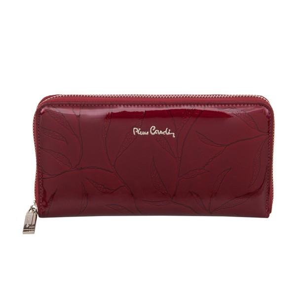 Pierre Cardin - duży damski skórzany portfel na zamek lakierowany liście bordowy (02LEAF119-BORDO)