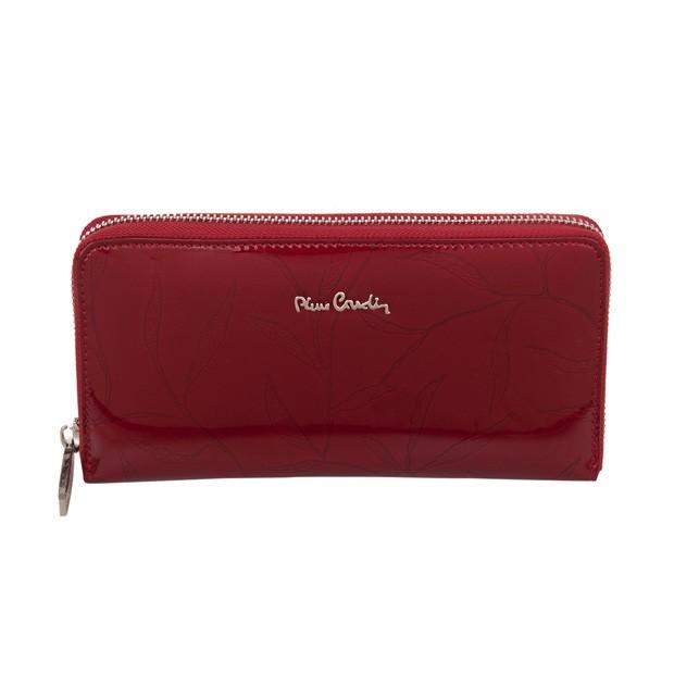 Pierre Cardin - duży damski skórzany portfel na zamek lakierowany liście czerwony (02LEAF119-RED)