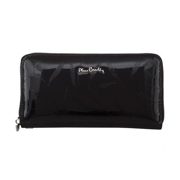 Pierre Cardin - duży damski skórzany portfel na zamek lakierowany liście czarny (02LEAF119-BLACK)