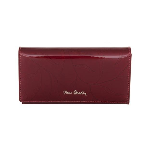 Pierre Cardin - Skórzany duży damski portfel lakierowany liście bordowy (02LEAF114-BORDO)