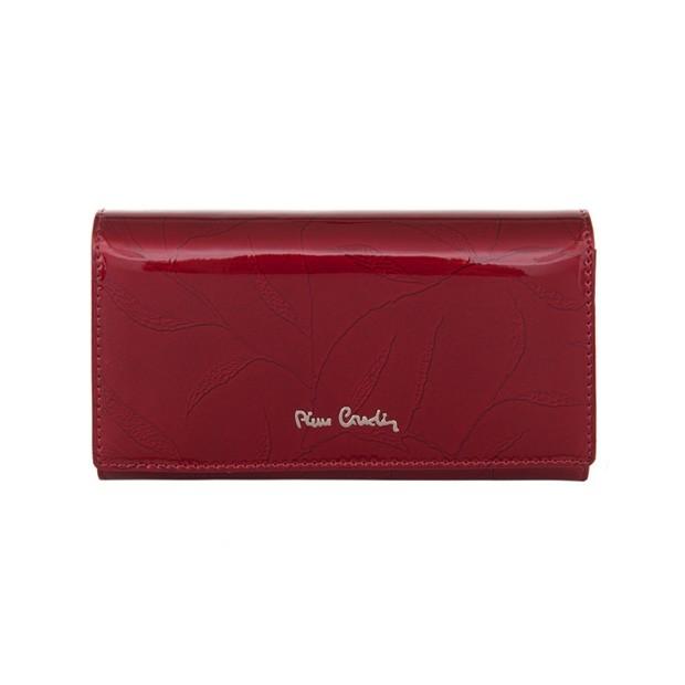 Pierre Cardin - Skórzany duży damski portfel lakierowany liście czerowny (02LEAF114-RED)