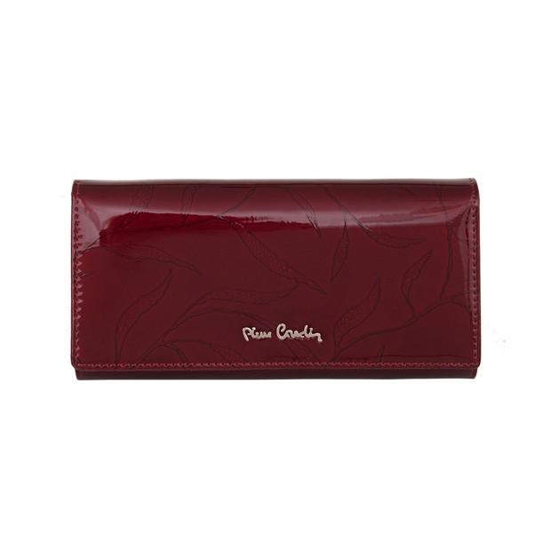 Pierre Cardin - Skórzany duży damski portfel lakierowany liście bordowy (02LEAF102-BORDO)