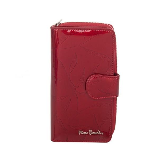 Pierre Cardin - Skórzany pionowy duży damski portfel lakierowany liście czerwony (02LEAF116-RED)