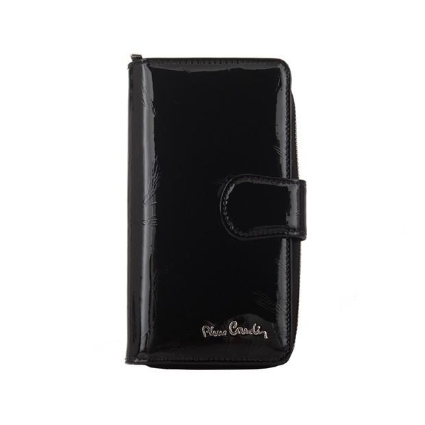 Pierre Cardin - Skórzany pionowy duży damski portfel lakierowany liście czarny (02LEAF116-BLACK)