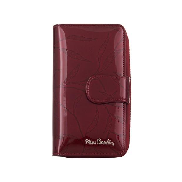 Pierre Cardin - Skórzany pionowy duży damski portfel lakierowany liście bordowy (02LEAF116-BORDO)