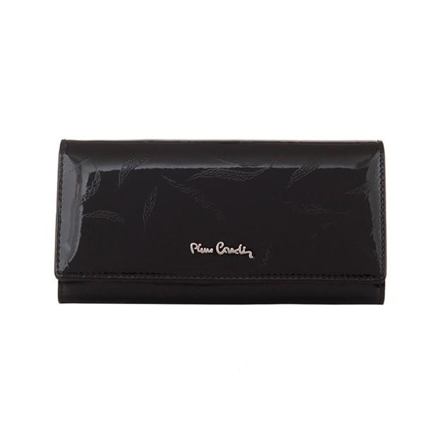 Pierre Cardin - Skórzany duży damski portfel lakierowany liście czarny (02LEAF100-BLACK)