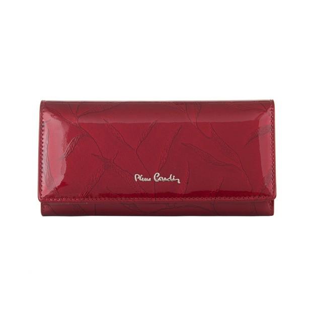 Pierre Cardin - Skórzany duży damski portfel lakierowany liście czerwony (02LEAF100-RED)