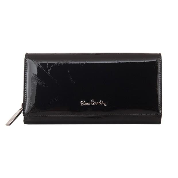Pierre Cardin - Skórzany duży damski portfel lakierowany liście czarny (02LEAF106-BLACK)