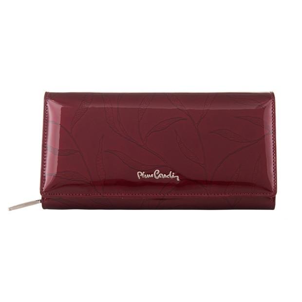 Pierre Cardin - Skórzany duży damski portfel lakierowany liście bordowy (02LEAF106-BORDO)