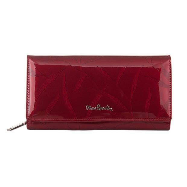 Pierre Cardin - Skórzany duży damski portfel lakierowany liście czerwony (02LEAF106-RED)