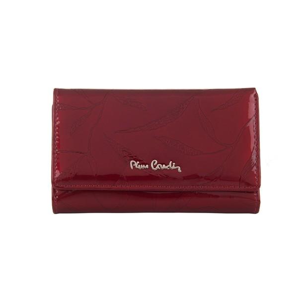 Pierre Cardin - Skórzany damski portfel lakierowany liście czerwony (02LEAF108-RED)
