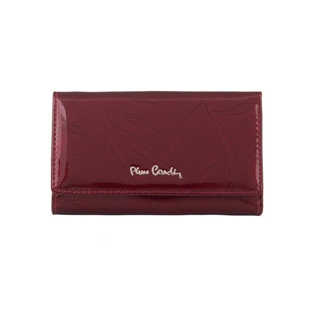 Pierre Cardin - Skórzany damski portfel lakierowany liście bordowy (02LEAF108-BORDO)