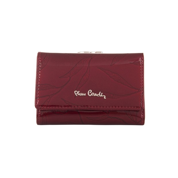Pierre Cardin - Skórzany damski portfel lakierowany liście bordowy (02LEAF117-BORDO)