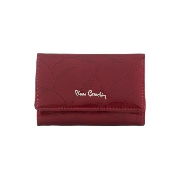 Pierre Cardin - Skórzany damski portfel lakierowany liście czerwony (02LEAF117-RED)