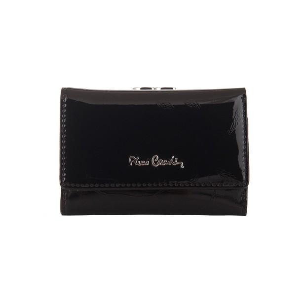 Pierre Cardin - Skórzany damski portfel lakierowany liście czarny (02LEAF117-BLACK)
