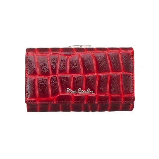 Pierre Cardin - Skórzany damski portfel lakierowany czerwony (03COCO108-RED)