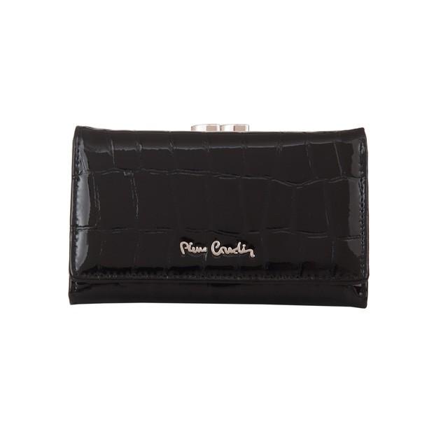 Pierre Cardin - Skórzany damski portfel lakierowany czarny (03COCO108-BLACK)