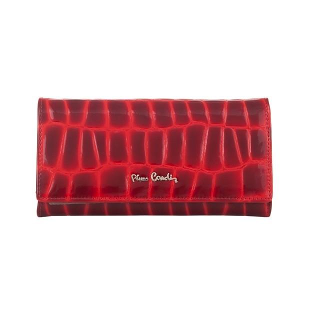 Pierre Cardin - Skórzany duży damski portfel lakierowany czerwony (03COCO100-RED)
