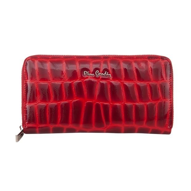 Pierre Cardin - duży damski skórzany portfel na zamek lakierowany czerwony (03COCO119-RED)